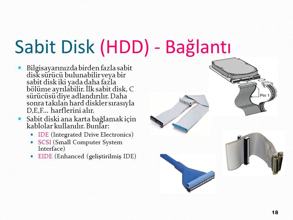 Sabit Disk (HDD) - Bağlantı