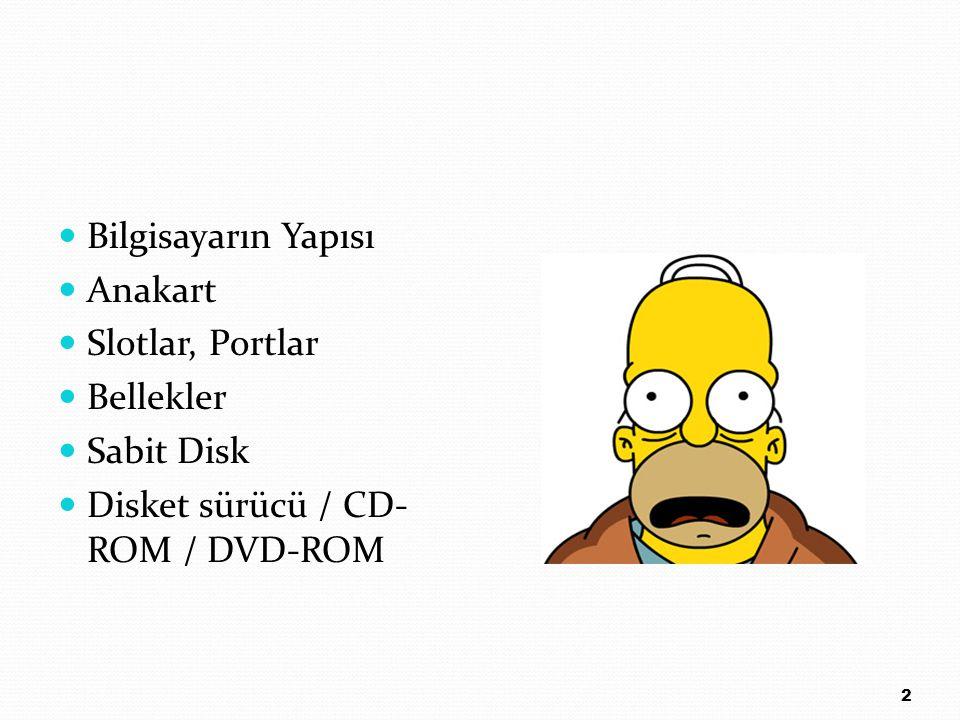 Bilgisayarın Yapısı Anakart Slotlar, Portlar Bellekler Sabit Disk Disket sürücü / CD-ROM / DVD-ROM