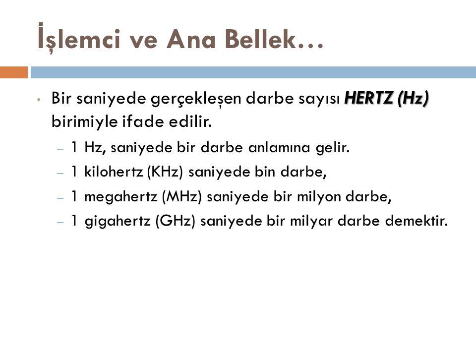 İşlemci ve Ana Bellek… Bir saniyede gerçekleşen darbe sayısı HERTZ (Hz) birimiyle ifade edilir. 1 Hz, saniyede bir darbe anlamına gelir.