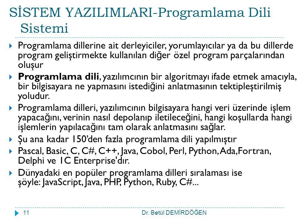 SİSTEM YAZILIMLARI-Programlama Dili Sistemi