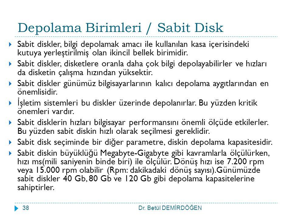 Depolama Birimleri / Sabit Disk