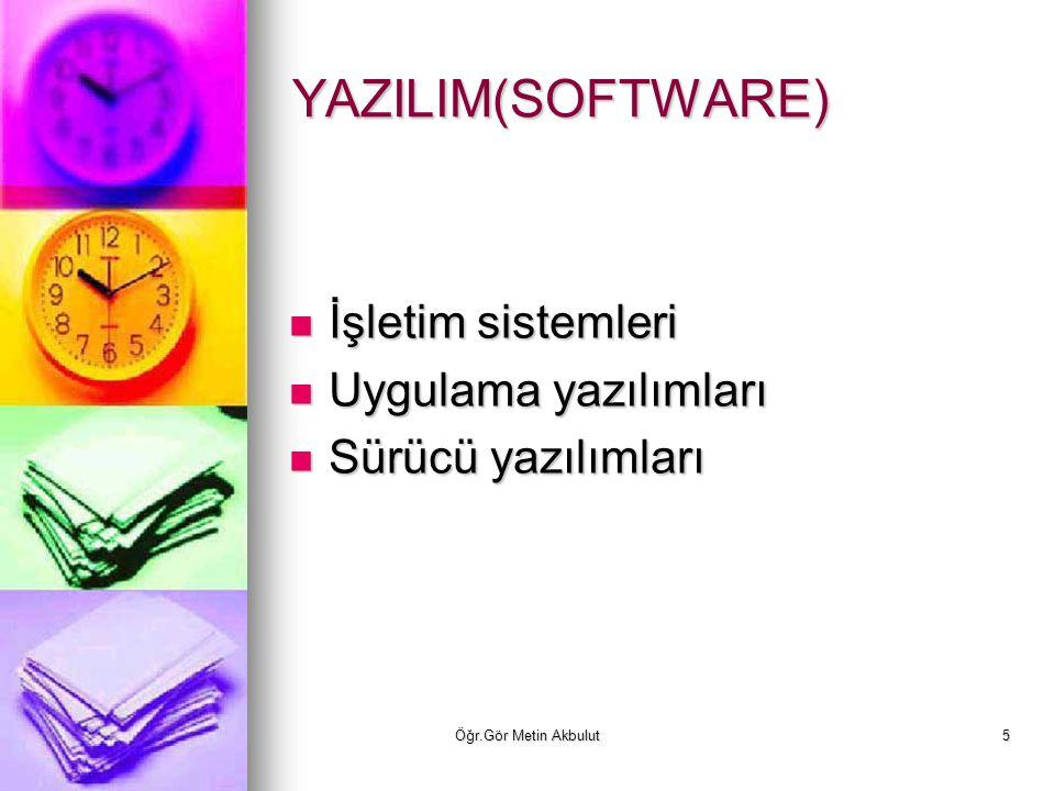 YAZILIM(SOFTWARE) İşletim sistemleri Uygulama yazılımları
