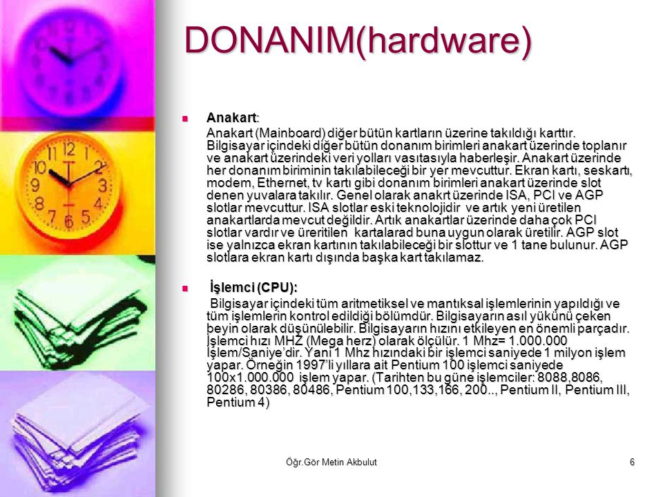 DONANIM(hardware) Anakart: