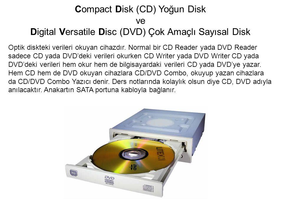 Compact Disk (CD) Yoğun Disk ve Digital Versatile Disc (DVD) Çok Amaçlı Sayısal Disk