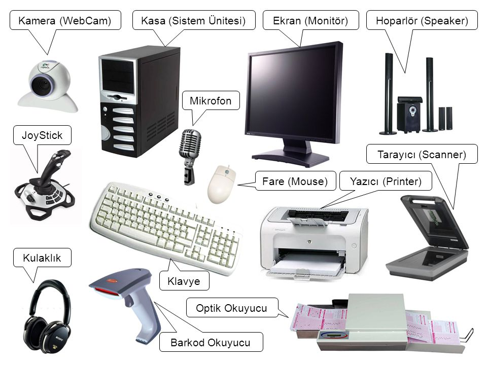 Kamera (WebCam) Kasa (Sistem Ünitesi) Ekran (Monitör) Hoparlör (Speaker) Mikrofon. JoyStick. Tarayıcı (Scanner)