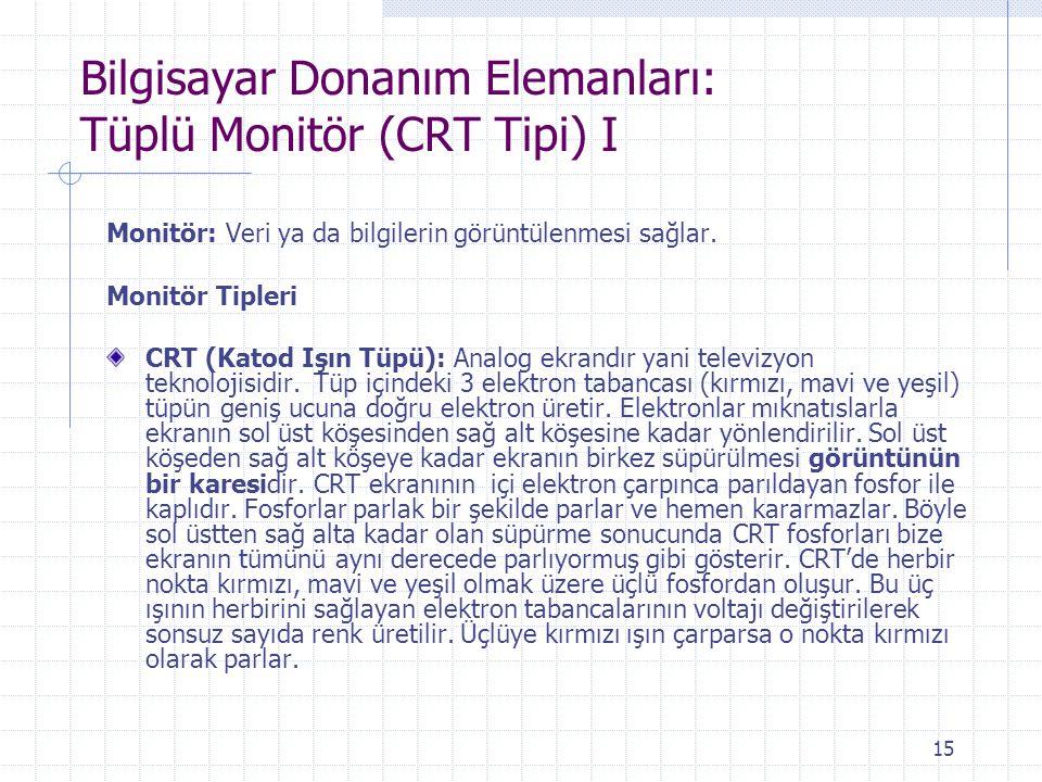 Bilgisayar Donanım Elemanları: Tüplü Monitör (CRT Tipi) I