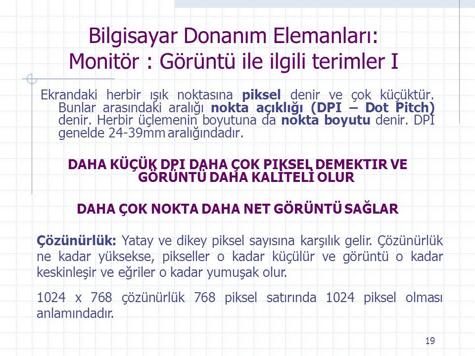 Bilgisayar Donanım Elemanları: Monitör : Görüntü ile ilgili terimler I
