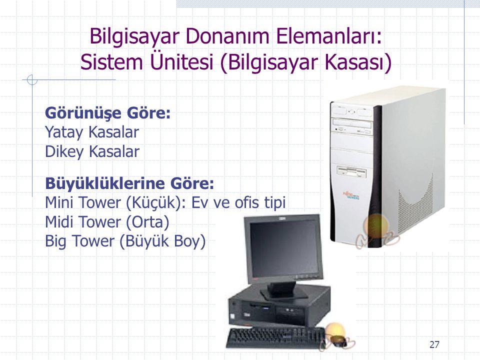 Bilgisayar Donanım Elemanları: Sistem Ünitesi (Bilgisayar Kasası)