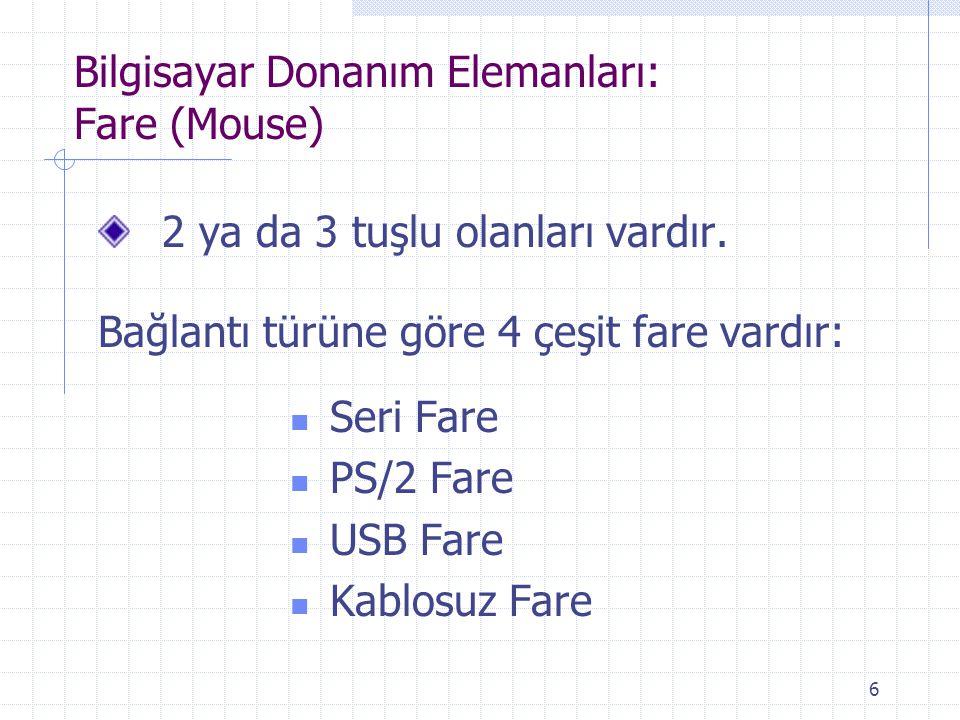 Bilgisayar Donanım Elemanları: Fare (Mouse)