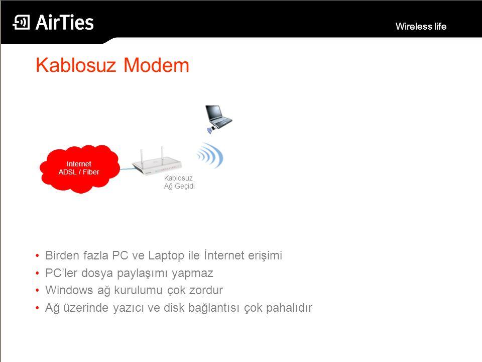 Kablosuz Modem Birden fazla PC ve Laptop ile İnternet erişimi