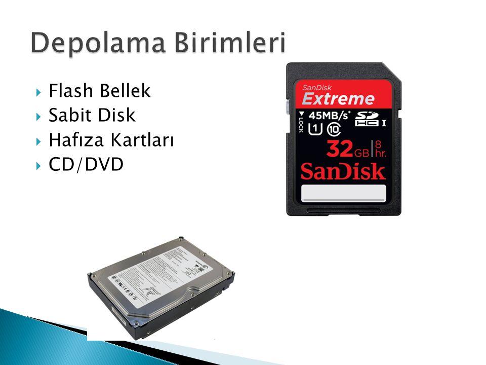 Depolama Birimleri Flash Bellek Sabit Disk Hafıza Kartları CD/DVD