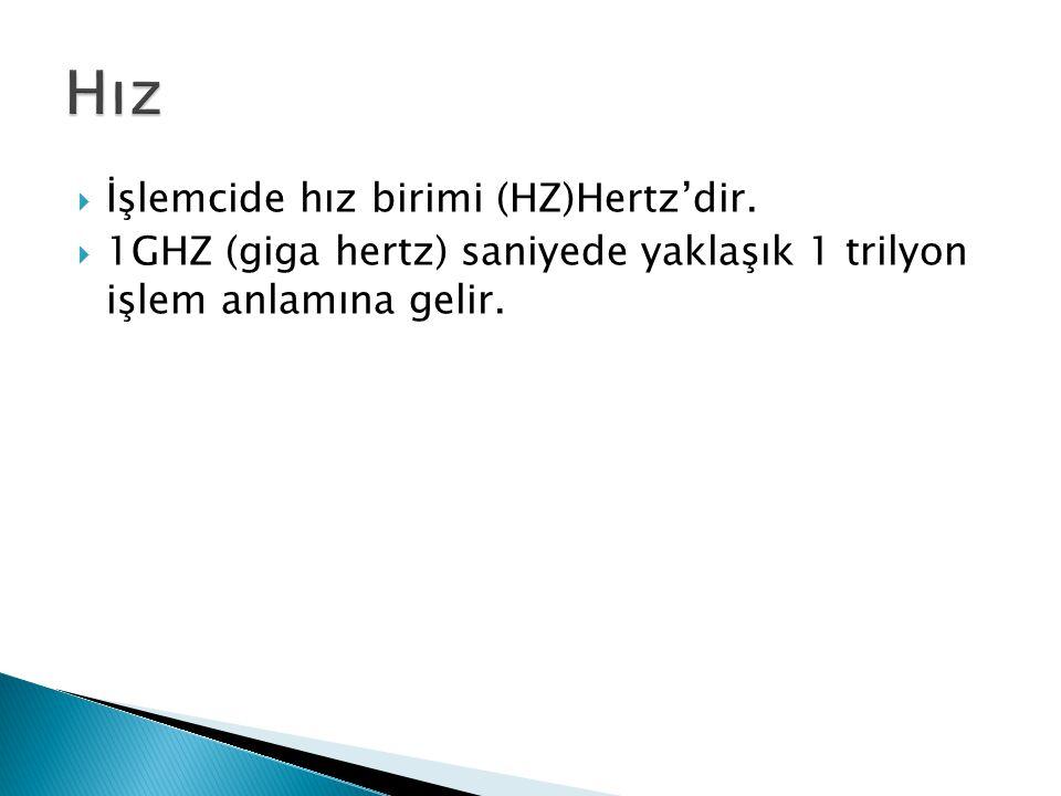 Hız İşlemcide hız birimi (HZ)Hertz'dir.