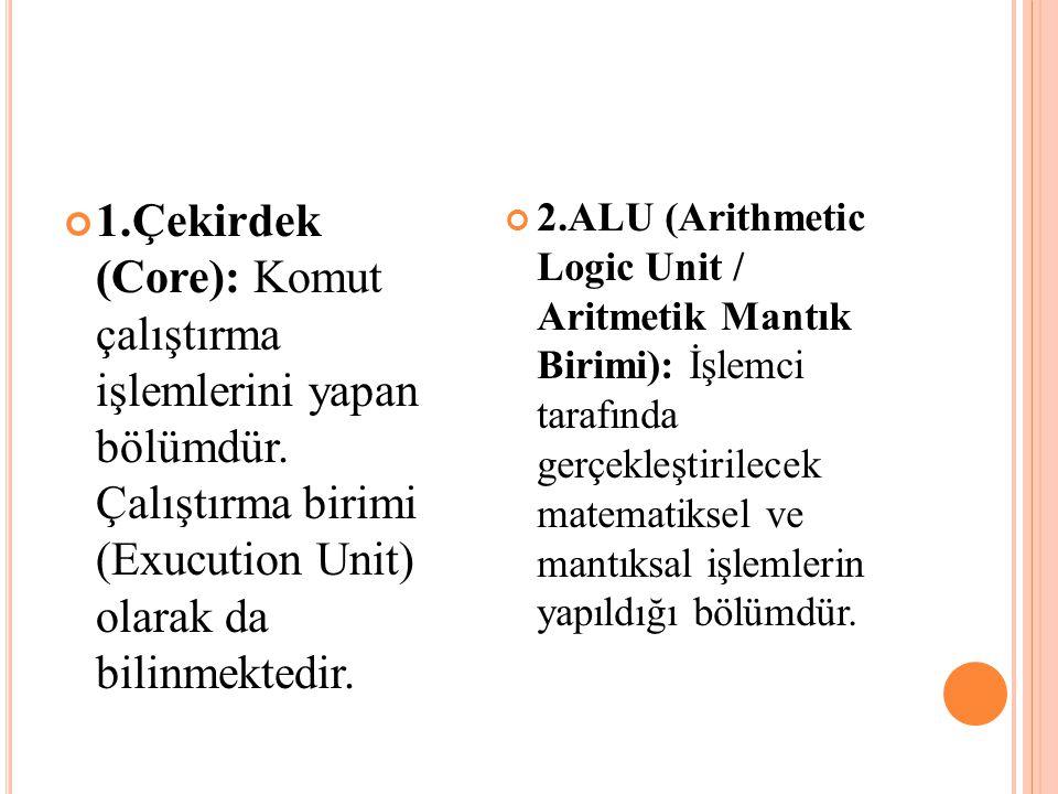 1. Çekirdek (Core): Komut çalıştırma işlemlerini yapan bölümdür