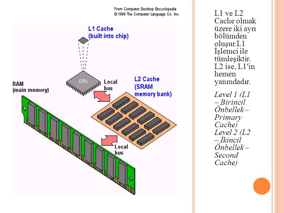 L1 ve L2 Cache olmak üzere iki ayrı bölümden oluşur