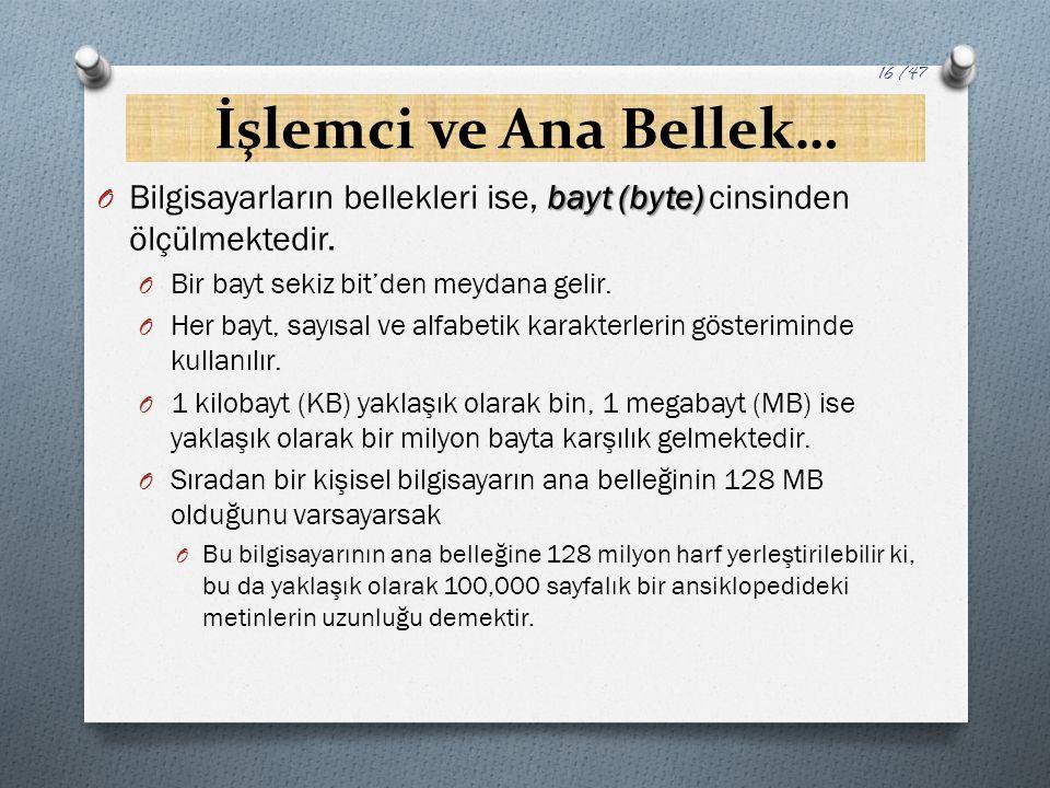 İşlemci ve Ana Bellek… Bilgisayarların bellekleri ise, bayt (byte) cinsinden ölçülmektedir. Bir bayt sekiz bit'den meydana gelir.