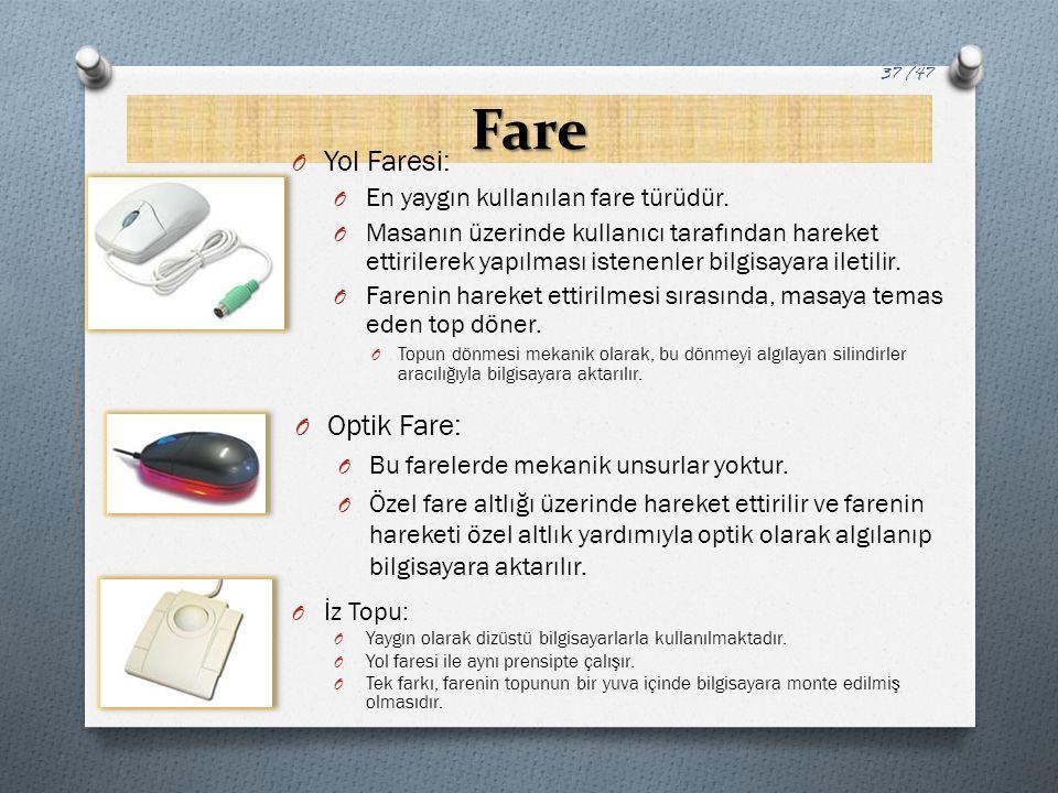 Fare Yol Faresi: Optik Fare: En yaygın kullanılan fare türüdür.
