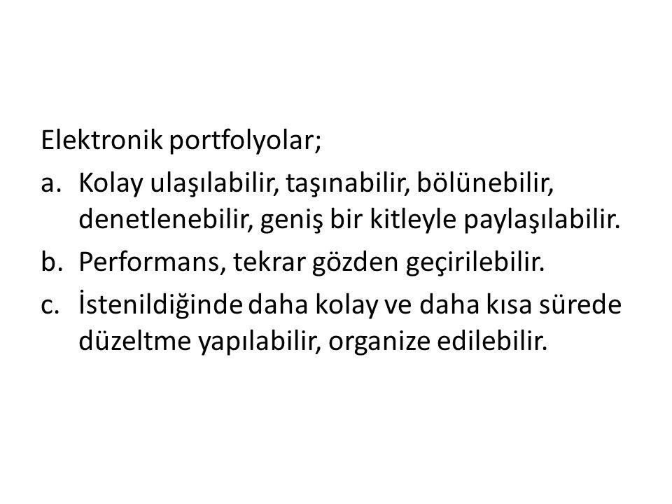 Elektronik portfolyolar;