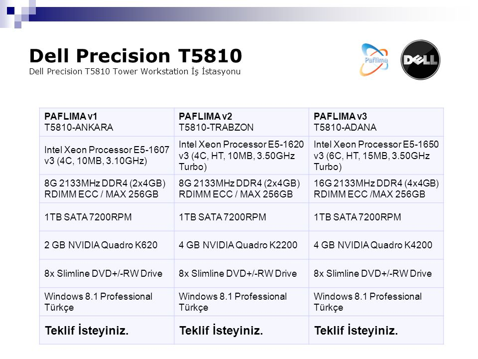 Dell Precision T5810 Dell Precision T5810 Tower Workstation İş İstasyonu