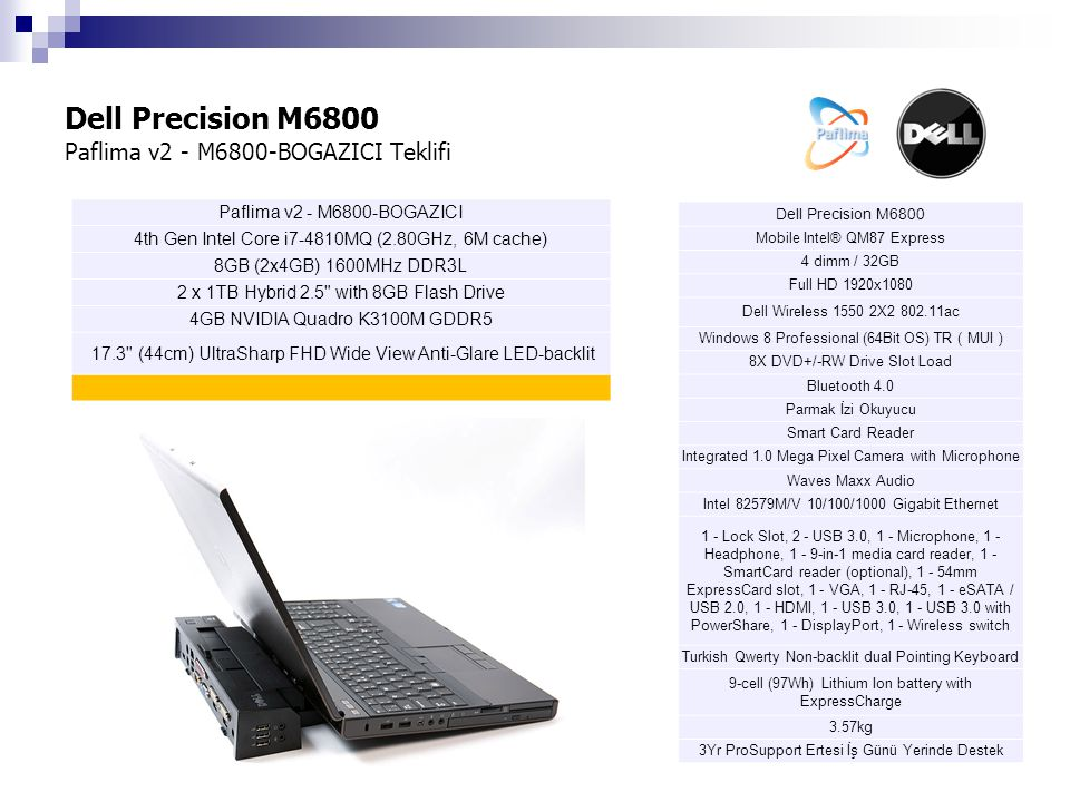 Dell Precision M6800 Paflima v2 - M6800-BOGAZICI Teklifi