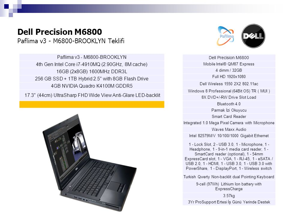 Dell Precision M6800 Paflima v3 - M6800-BROOKLYN Teklifi