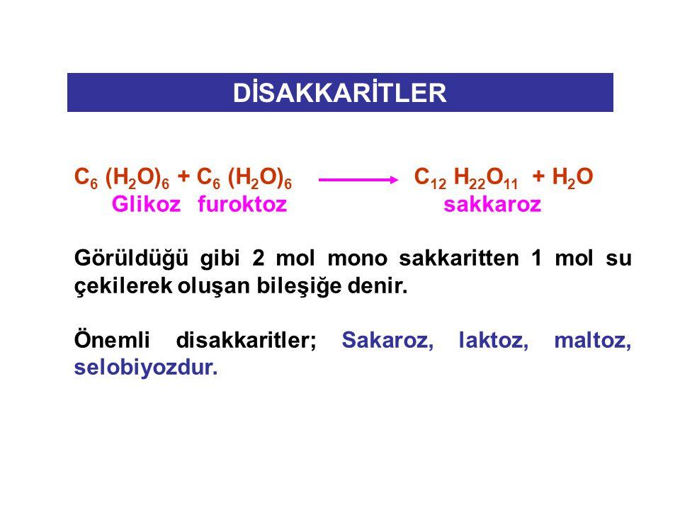 DİSAKKARİTLER C6 (H2O)6 + C6 (H2O)6 C12 H22O11 + H2O