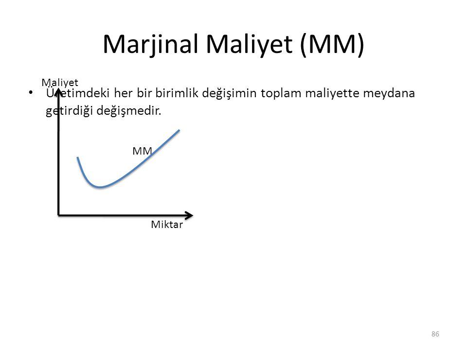 Marjinal Maliyet (MM) Maliyet. Üretimdeki her bir birimlik değişimin toplam maliyette meydana getirdiği değişmedir.
