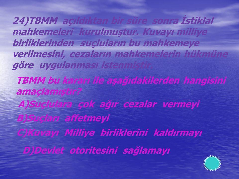24)TBMM açıldıktan bir süre sonra İstiklal
