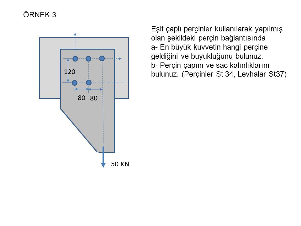 ÖRNEK 3 Eşit çaplı perçinler kullanılarak yapılmış olan şekildeki perçin bağlantısında.