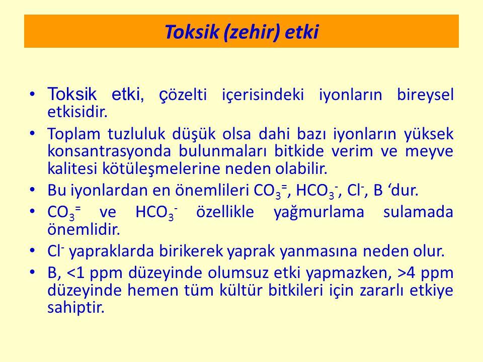 Toksik (zehir) etki Toksik etki, çözelti içerisindeki iyonların bireysel etkisidir.