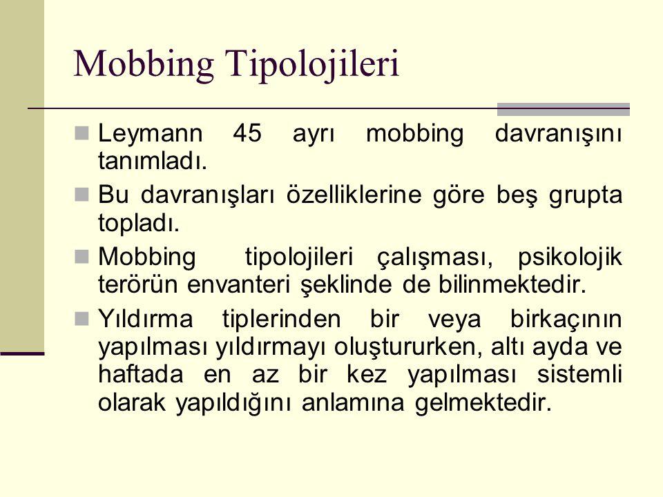 Mobbing Tipolojileri Leymann 45 ayrı mobbing davranışını tanımladı.