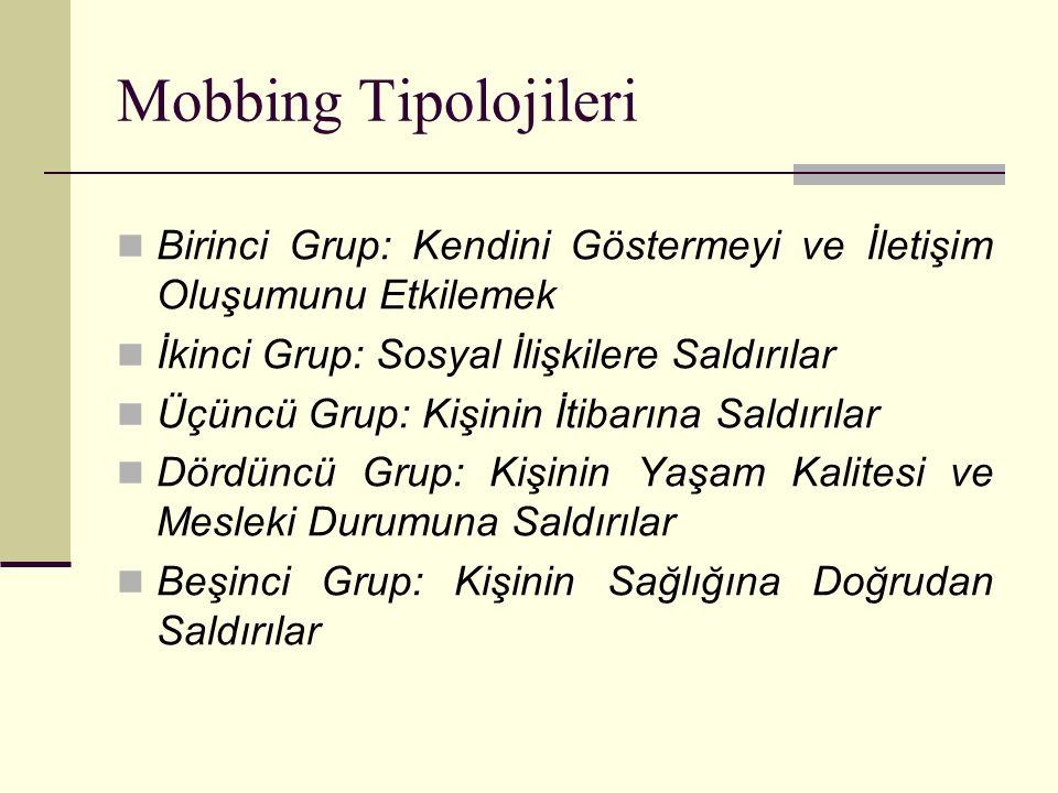 Mobbing Tipolojileri Birinci Grup: Kendini Göstermeyi ve İletişim Oluşumunu Etkilemek. İkinci Grup: Sosyal İlişkilere Saldırılar.