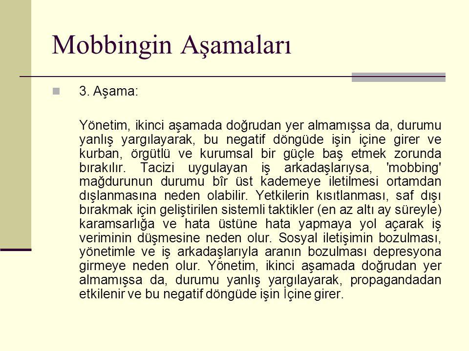 Mobbingin Aşamaları 3. Aşama: