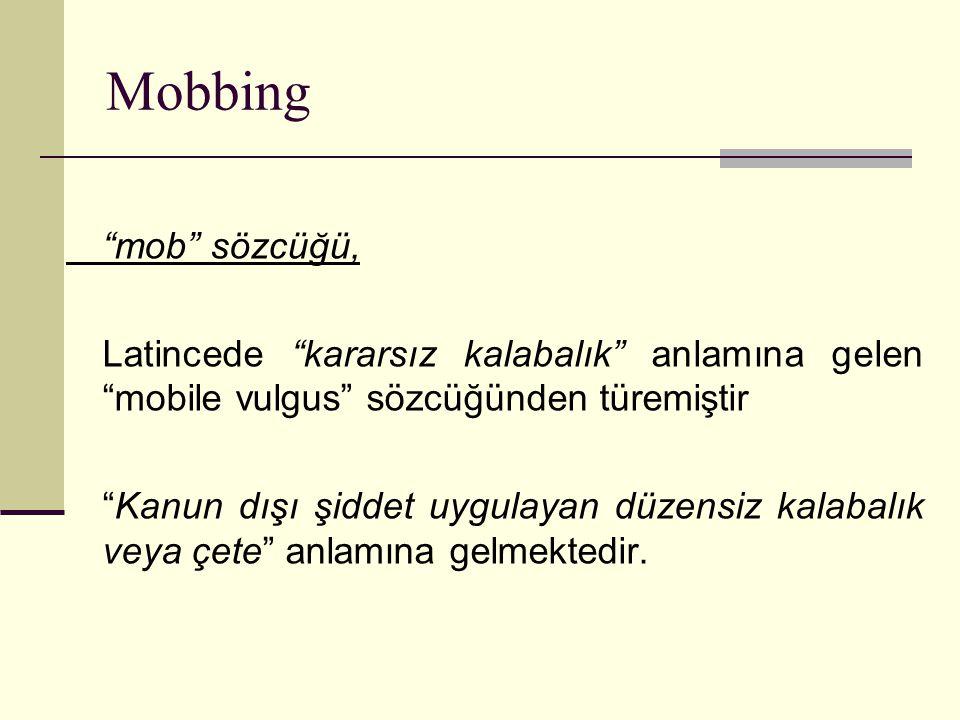 Mobbing mob sözcüğü, Latincede kararsız kalabalık anlamına gelen mobile vulgus sözcüğünden türemiştir.