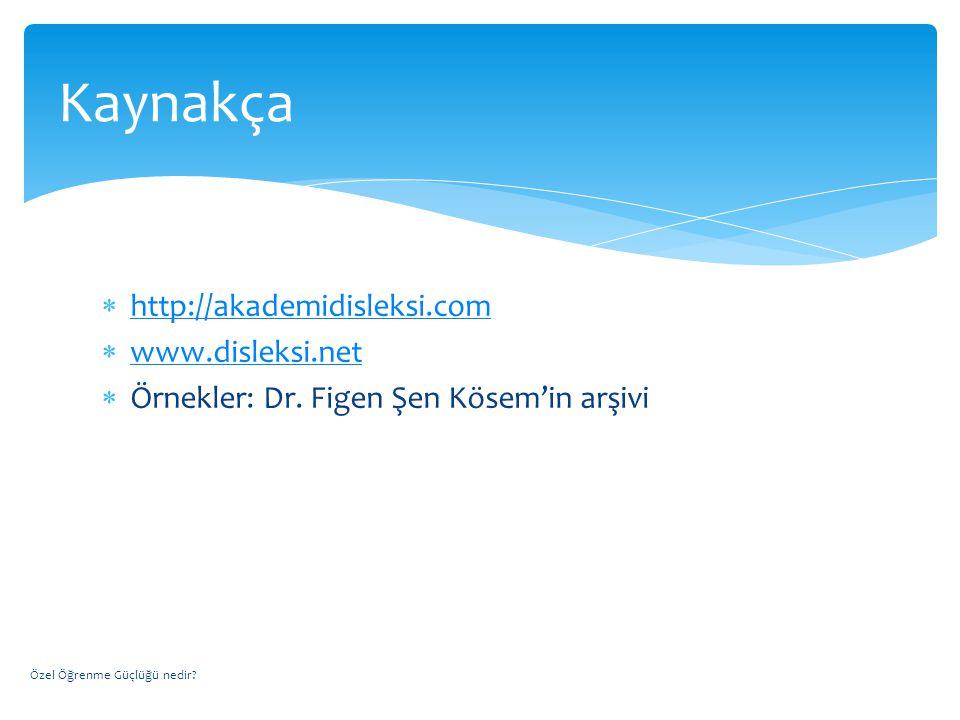 Kaynakça http://akademidisleksi.com www.disleksi.net