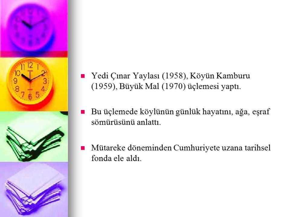 Yedi Çınar Yaylası (1958), Köyün Kamburu (1959), Büyük Mal (1970) üçlemesi yaptı.