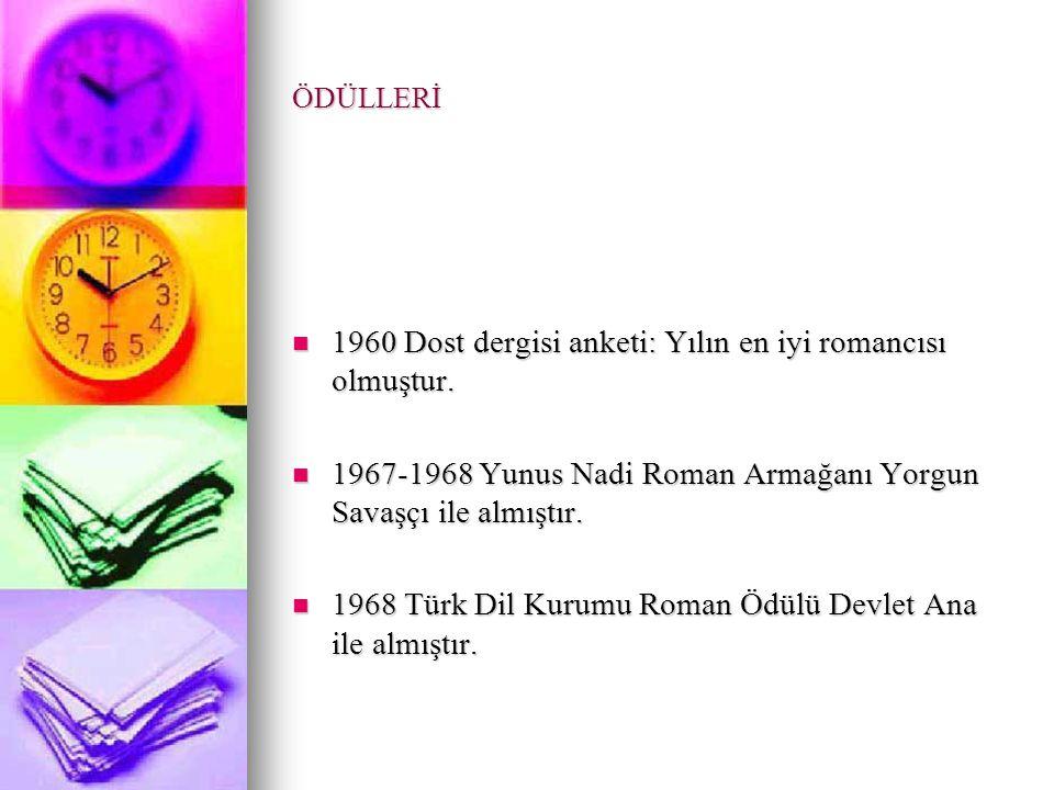 1960 Dost dergisi anketi: Yılın en iyi romancısı olmuştur.