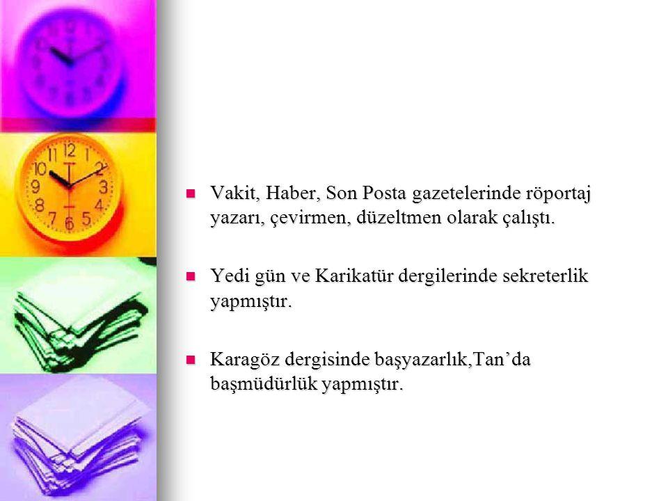 Vakit, Haber, Son Posta gazetelerinde röportaj yazarı, çevirmen, düzeltmen olarak çalıştı.