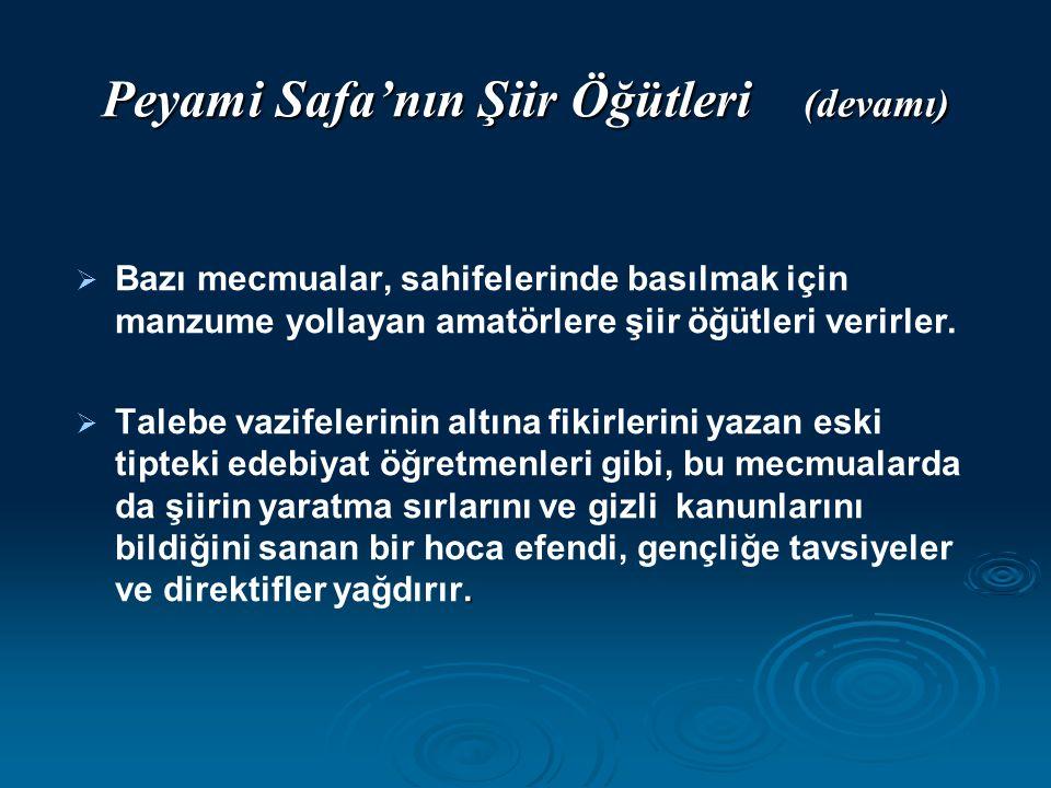 Peyami Safa'nın Şiir Öğütleri (devamı)