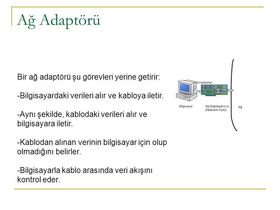 Ağ Adaptörü Bir ağ adaptörü şu görevleri yerine getirir: