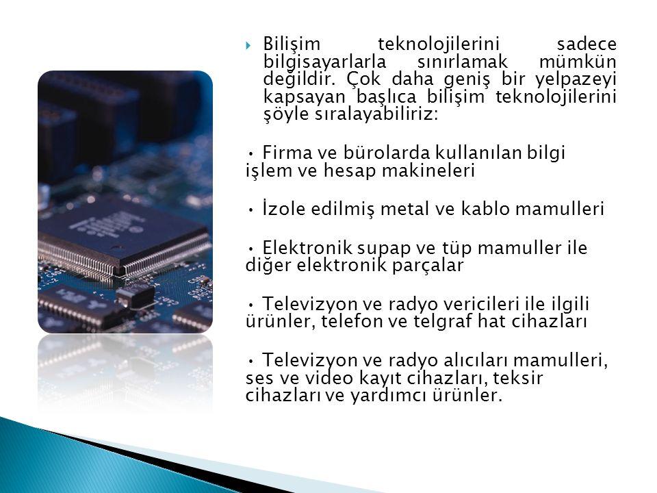 Bilişim teknolojilerini sadece bilgisayarlarla sınırlamak mümkün değildir. Çok daha geniş bir yelpazeyi kapsayan başlıca bilişim teknolojilerini şöyle sıralayabiliriz: