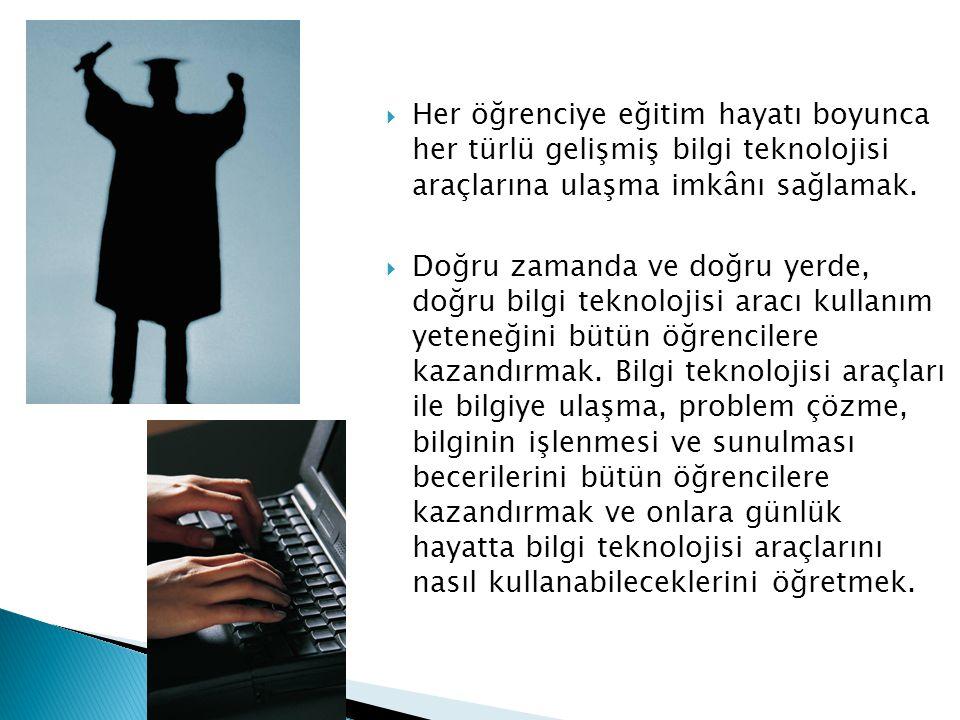 Her öğrenciye eğitim hayatı boyunca her türlü gelişmiş bilgi teknolojisi araçlarına ulaşma imkânı sağlamak.
