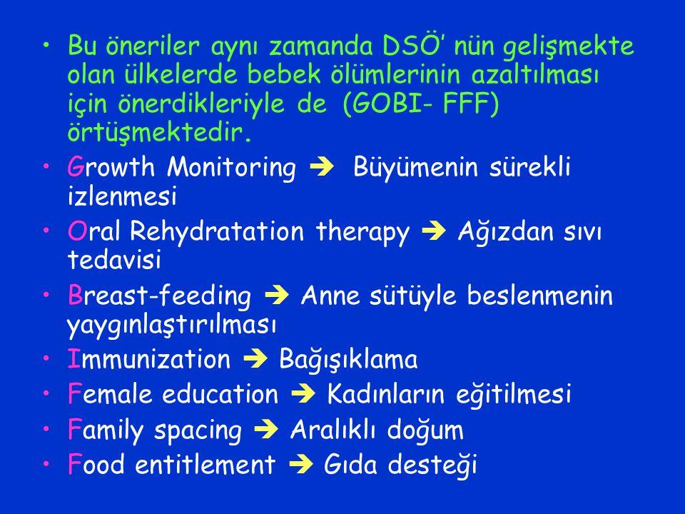 Bu öneriler aynı zamanda DSÖ' nün gelişmekte olan ülkelerde bebek ölümlerinin azaltılması için önerdikleriyle de (GOBI- FFF) örtüşmektedir.