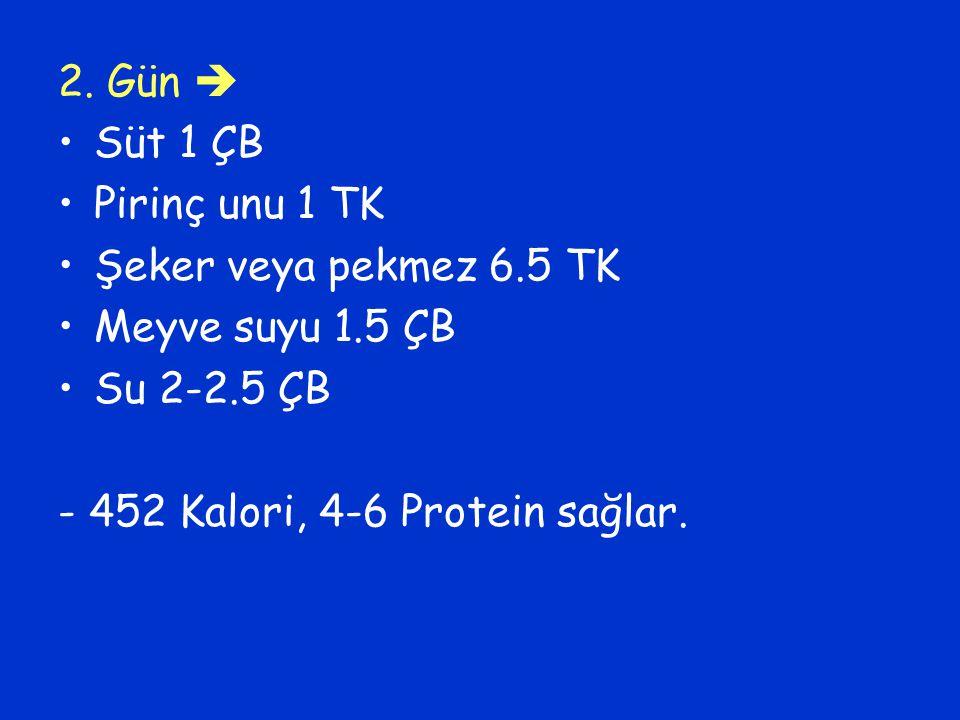 2. Gün  Süt 1 ÇB. Pirinç unu 1 TK. Şeker veya pekmez 6.5 TK.
