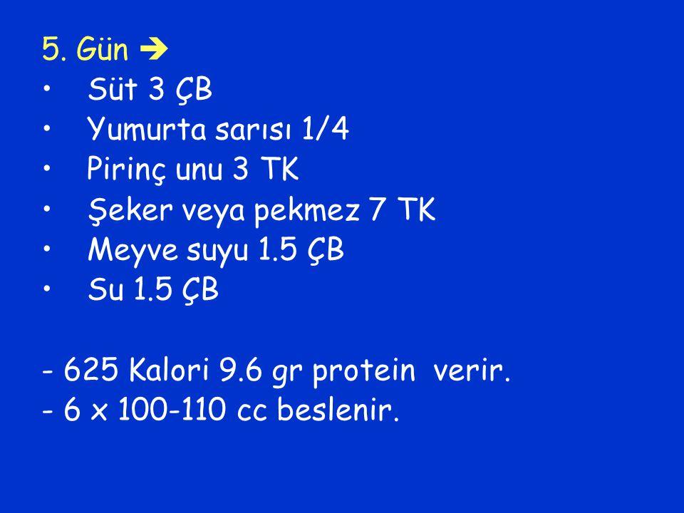 5. Gün  Süt 3 ÇB. Yumurta sarısı 1/4. Pirinç unu 3 TK. Şeker veya pekmez 7 TK. Meyve suyu 1.5 ÇB.
