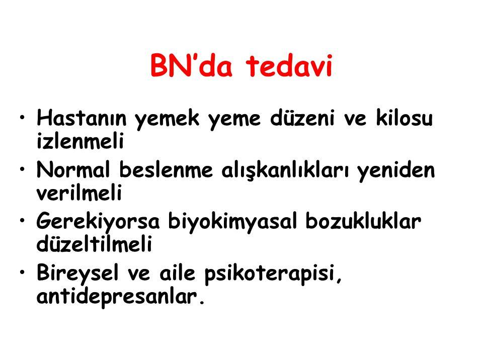 BN'da tedavi Hastanın yemek yeme düzeni ve kilosu izlenmeli