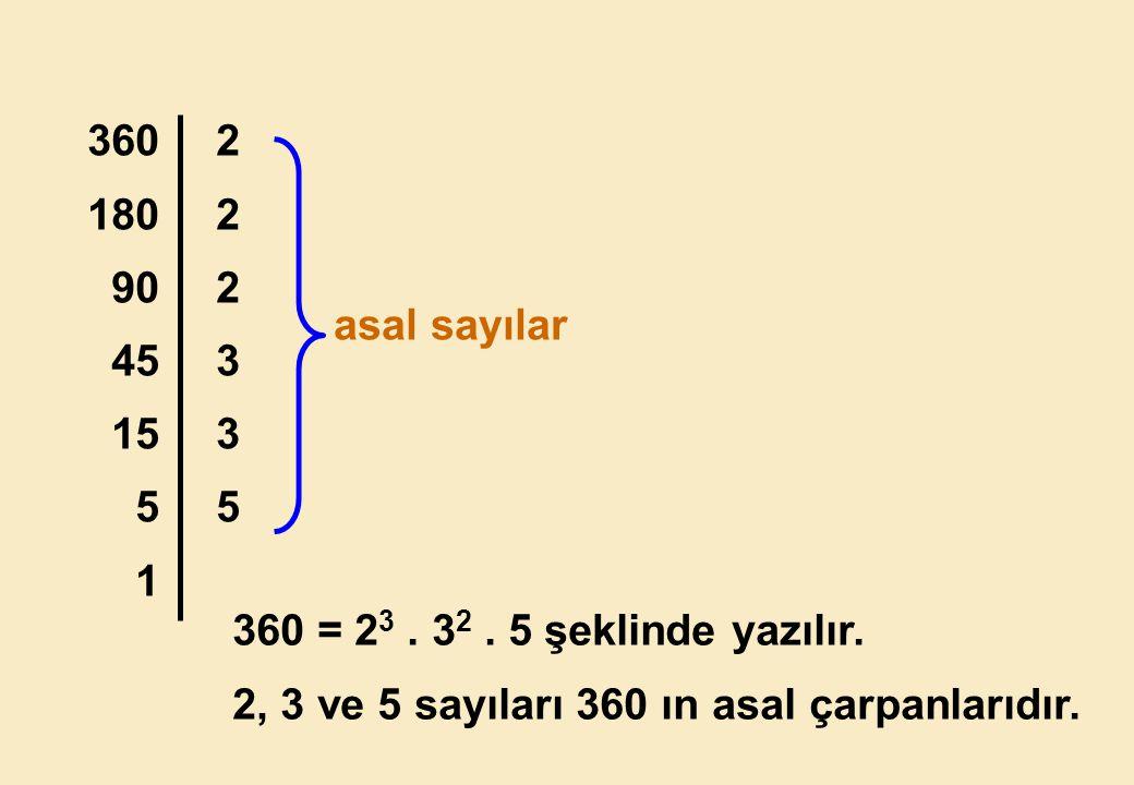360 180. 90. 45. 15. 5. 1. 2. 3. asal sayılar.
