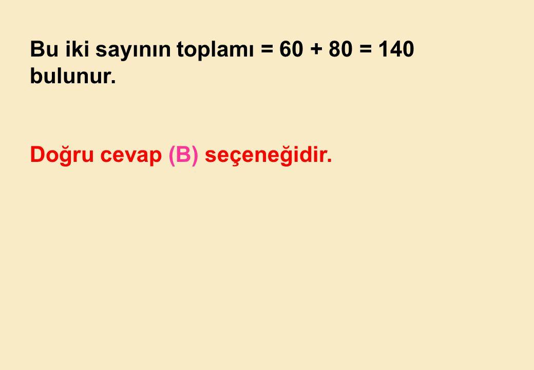 Bu iki sayının toplamı = 60 + 80 = 140 bulunur.