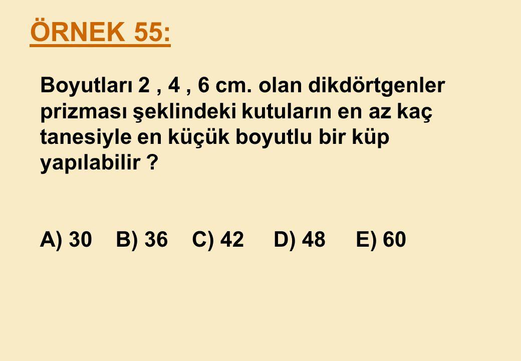 ÖRNEK 55: Boyutları 2 , 4 , 6 cm. olan dikdörtgenler prizması şeklindeki kutuların en az kaç tanesiyle en küçük boyutlu bir küp yapılabilir