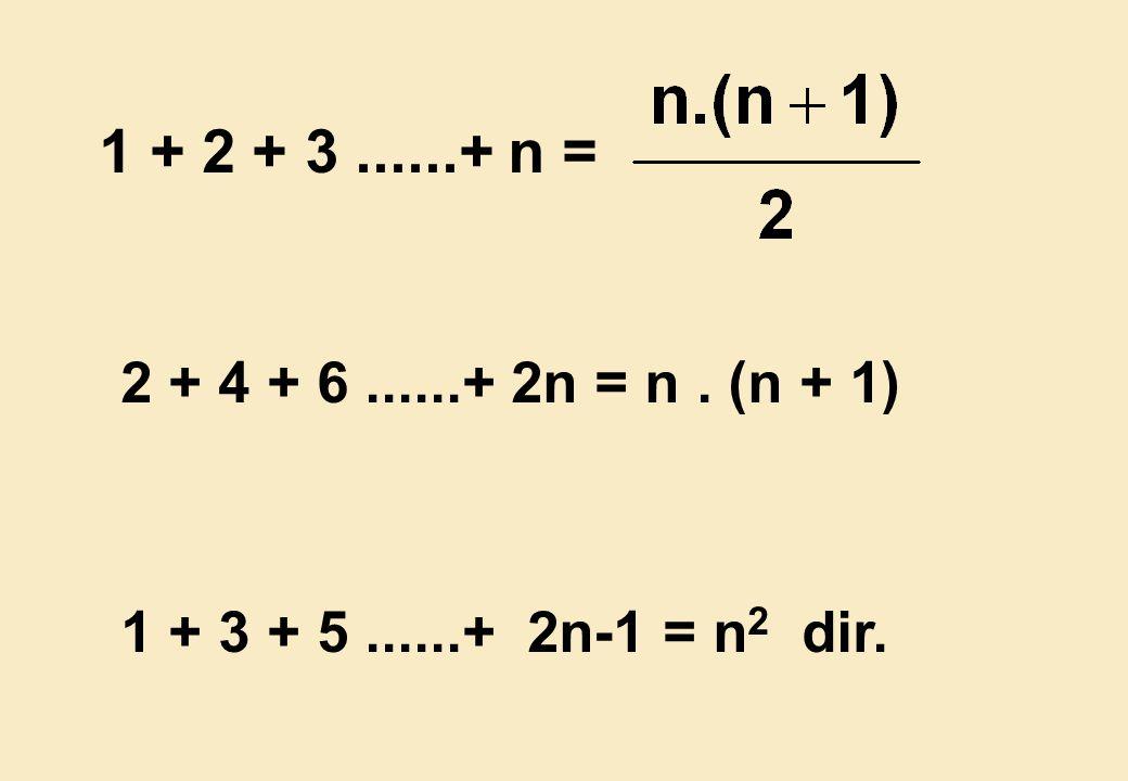 1 + 2 + 3 ......+ n = 2 + 4 + 6 ......+ 2n = n . (n + 1) 1 + 3 + 5 ......+ 2n-1 = n2 dir.