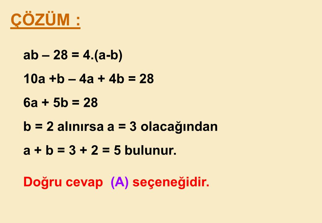 ÇÖZÜM : ab – 28 = 4.(a-b) 10a +b – 4a + 4b = 28 6a + 5b = 28